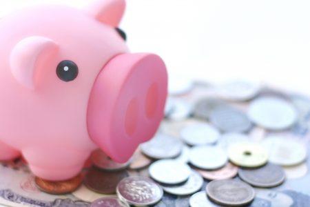 豚ちゃんの貯金箱と小銭